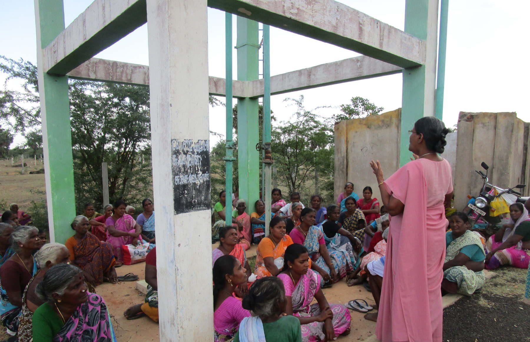 Sr. Amali Sebastian with women's group – giving awareness on Water and Sanitation