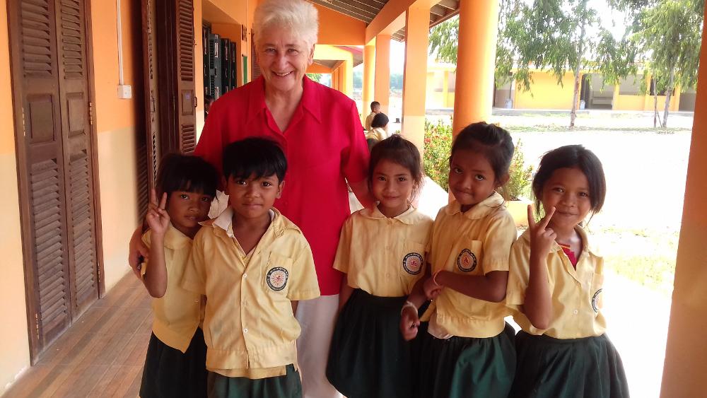 Anne with Grade 2 Children Phnom Bak