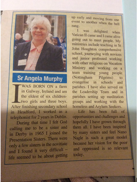 A write up for my Golden Jubilee last year Sr Angela