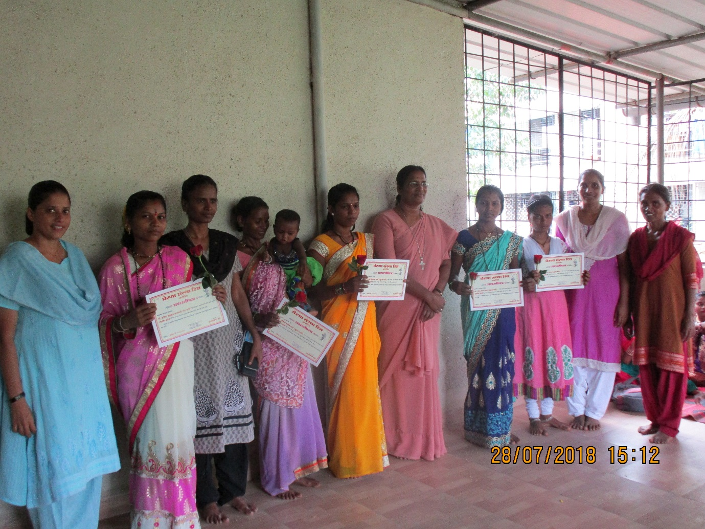 Certificate distribution of Tailoring course to Tribal Kathkari women in Rees