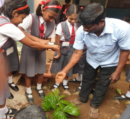 """""""Let's go green together"""". Students of Std. IV participated in tree planting activity to educate all the students of the school to be stewards in preserving nature."""