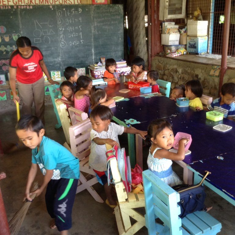 Preschoolers during their class at the mountain area