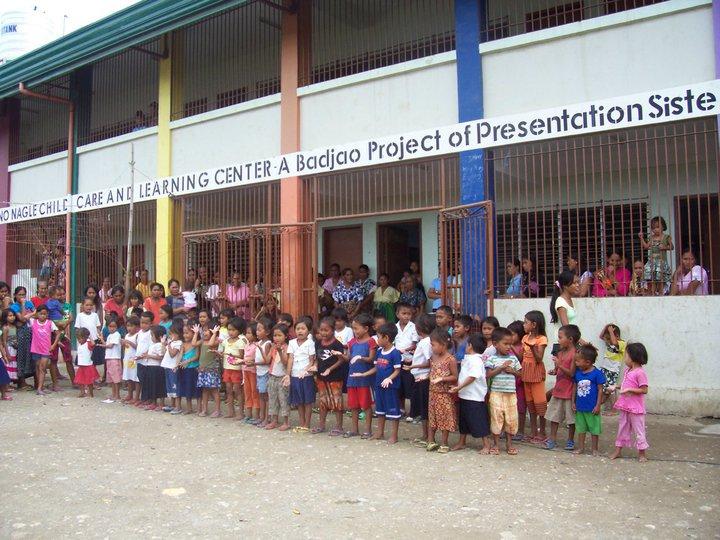 Badjao Pre-school pupils outside the school building