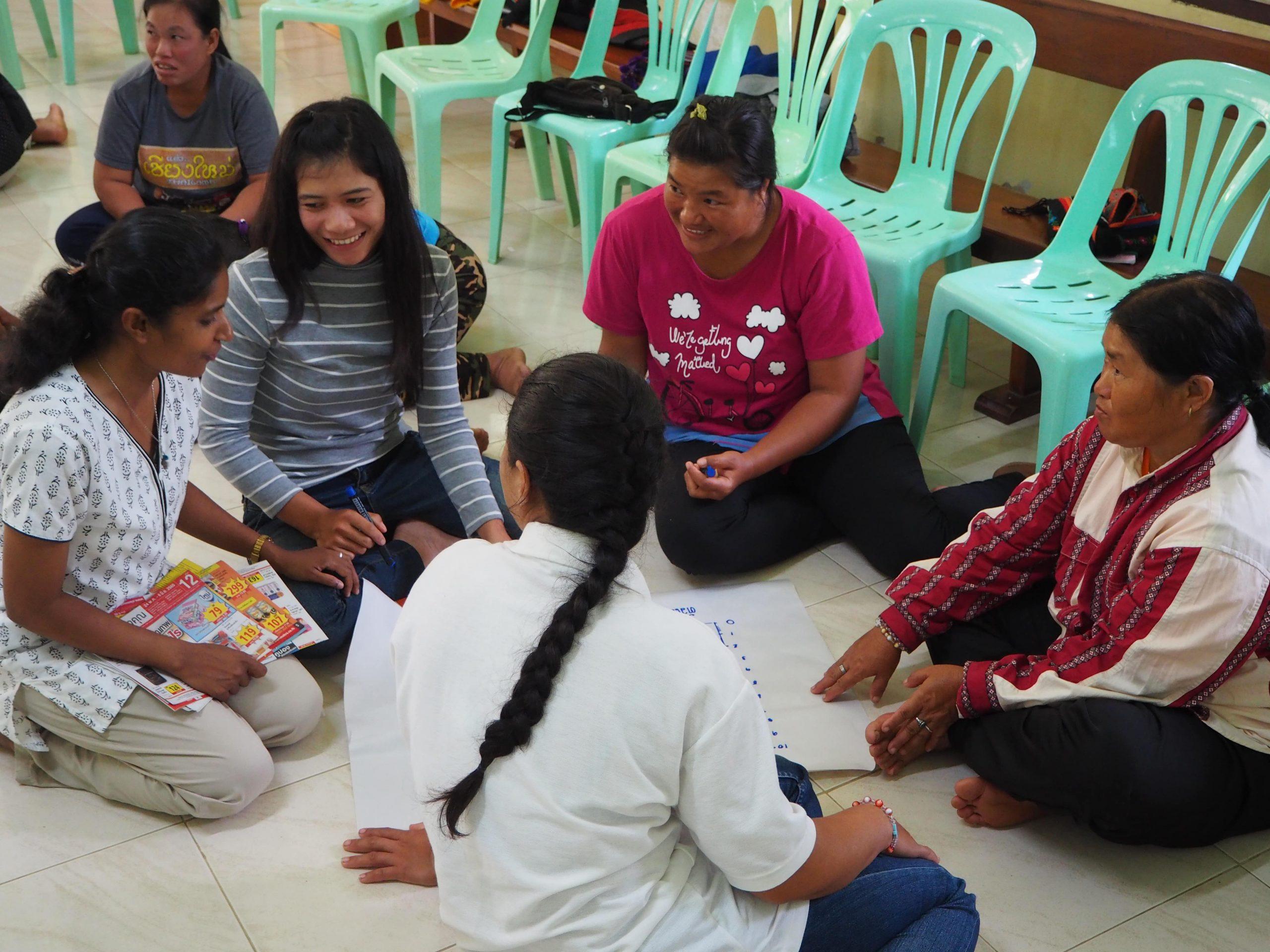 Sr Jancy encouraging women during a workshop