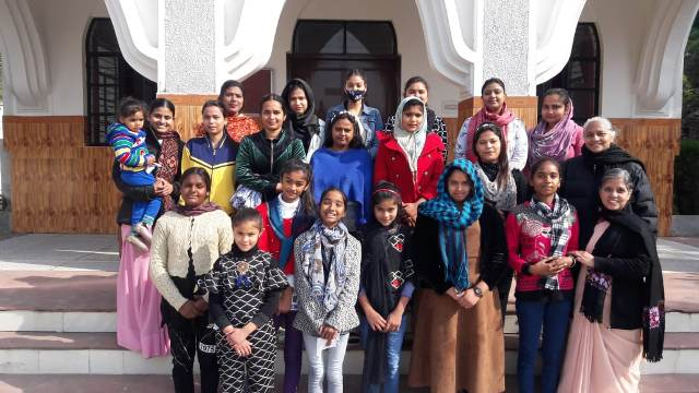 Sisters with parishioners